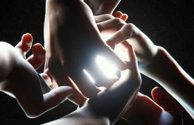 手臂汇聚灯光阴影特效科幻电影动画场景C4D工程模型