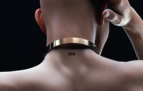 撫摸著后腦勺的光頭健身男士Cinema4D人體工程模型