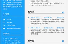 亮丽蓝色排版布局新媒体运营求职应聘world模板