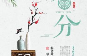 清新嫩柳装饰工艺花瓶传统插图设计春分节气平面宣传海报