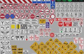 77个城市轨道建设公路户外交通指示牌C4D工程渲染模型包下载