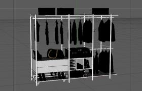 纯色现代艺术风格室内衣帽间简约定制陈设柜C4D模型