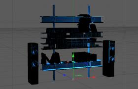 炫光蓝色CD音响设备陈设柜室内音乐设备储物间C4D模型