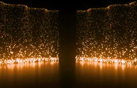 金色粒子瀑布持續傾瀉HD特效視頻素材