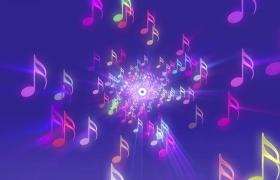 七彩音符伴隨燈光投射變幻LED特效舞臺背景視頻