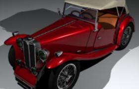 無頂棚敞設計英國開放式兩座跑車MG-TC精品汽車C4D模型