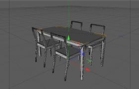 80°平滑着色设计室内客厅长方形餐桌Cinema4D模型展示