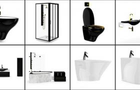 8个高品质室内家居浴室洗手台浴池马桶日常用品Cinema4D模型