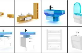8個高端家居浴室洗浴用品配套設施Cinema4D模型素材包下載