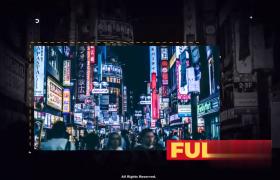 炫黑背景虚线点缀建筑图文内容排版幻灯片AE模板