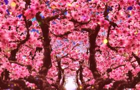 桃林花枝浪漫穿梭金色粒子唯美点缀LED舞台背景视频