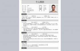 简约灰色系排版布局资深程序设计专员个人信息简历Word模板