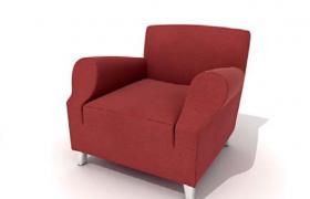 红色可拆卸休闲阅读沙发座椅Cinema4D家居陈设模型展示