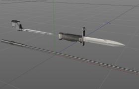 匕首刺刀甩棍Bayonette現代近戰武器Cinema4D模型合集下載