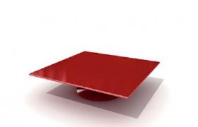 玻璃材質紅色方形茶幾高品質室內裝飾設計C4D模型預覽