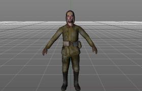斯大林格勒戰爭蘇聯士兵射擊游戲人物角色c4d模型