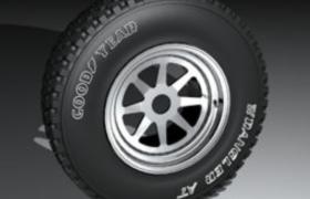 美国固特异品牌大型汽车拖运轮胎C4D模型(含贴图)