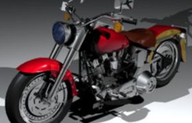 90款大型美式肥仔Fatboy摩托車Cinema4D模型(含材質貼圖)