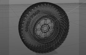 3D网格结构内核设计图汽车轮胎配件C4D模型(含效果展示图)