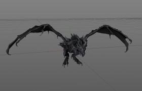 高品質魔幻天空惡龍C4D模型(含飛行綁定動畫)