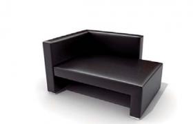 軟性皮質材料包裹式黑色純皮沙發座椅高檔辦公待客家居C4D模型