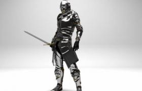 高光材質設計金屬暗夜武士Knight人物雕塑C4D工程模型含貼圖