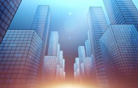 抽象光效高楼城市动态科技穿梭MOV特效视频素材