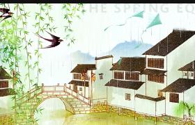 清新雨季动态传统节日清明节春游踏青祭祖片头展示AE模板