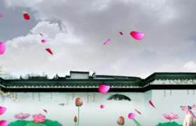 古風墻院唯美荷塘背景花瓣飄零特效視頻素材