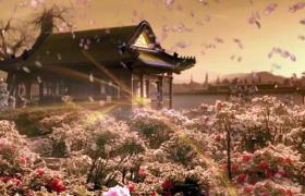 古代復古花園花瓣飛舞光線華麗刷新特效LED舞臺背景視頻