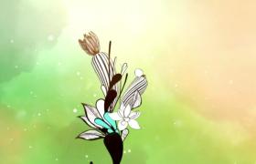 彩色烟雾空间水墨艺术花朵生长特效片头会声会影模板