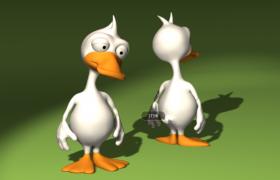 满脸困意的纯白色唐老鸭卡通动漫人物角色Cinema4D模型