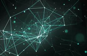 绿色神秘三维空间点线几何网模型旋转会声会影科技片头