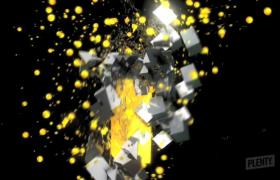 黄色彩球白色碎块汇聚成3D数字动感震撼特效视频