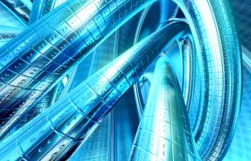 藍色質感金屬管道纏繞科技特效視頻素材