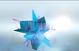 三维视差抽象折叠线条纸LOGO演绎AE模板