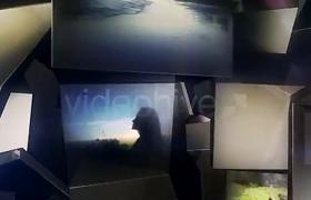现代炫酷空间感抽象魔方错位洞壁照片片头展示AE模板