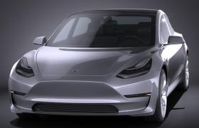 特斯拉model 3纯电动品牌新能源汽车C4D高精度汽车工程模型