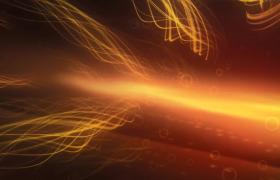 黄色光线翻滚小圆环飘动科技特效视频素材