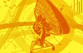 信號接收器旋轉展示波線快速跳動科技網絡特效視頻