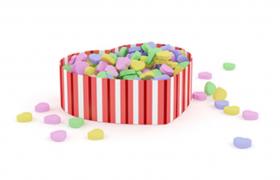 夏日繽紛水果味七彩愛心狀糖果童年小食品C4D模型