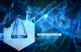 高科技医学研究菱形图文DNA分子式透明蓝色晶体3D效果AE模板