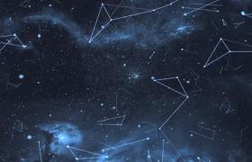 藍色粒子星際點線幾何圖形漂浮科技特效視頻素材
