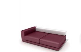 軟性紅色皮質沙發高品質商務沙發座墊C4D模型