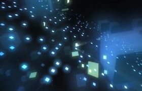 藍色熒光立方塊空間穿梭科技特效視頻素材