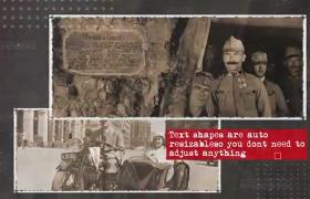 充满怀旧黑白历史战争老照片图集回忆展示粒子漏光效果AE模板