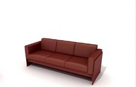 高品質家具城棕色客廳真皮沙發C4D模型展示