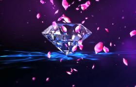 閃光鉆石炫麗旋轉粉紅花瓣唯美飄零婚慶特效視頻素材