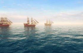 海上帆船震撼航行动画特效视频素材