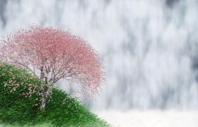 粉花草叢搖曳瀑布雄偉傾瀉自然美景特效視頻素材